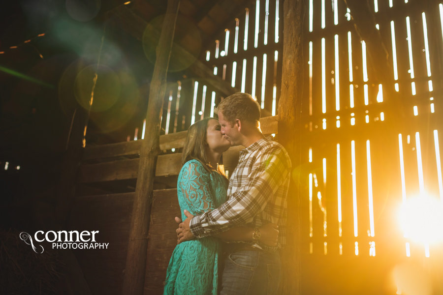 Fall Country Engagement on train tracks and barn