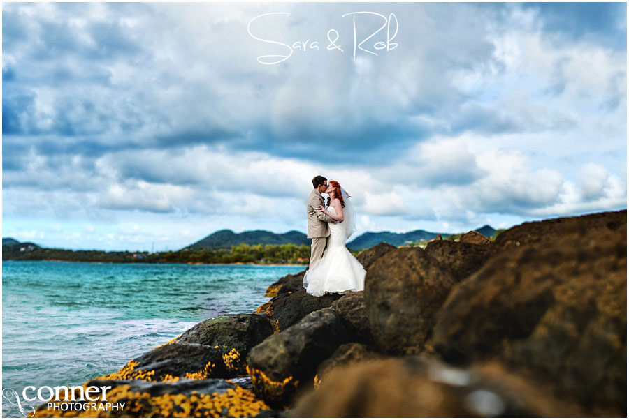st lucia destination wedding bride and groom on rocks